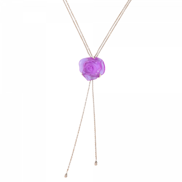 Rose Passion Crystal Sautoir Necklace in Ultraviolet/Silver