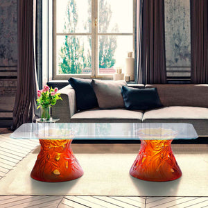 Large Vegetal Coffee Table in Amber