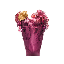 Load image into Gallery viewer, Rose Passion Vase in Red, Violet, & Gilded Flower