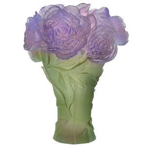 Peony Vase in Green & Purple
