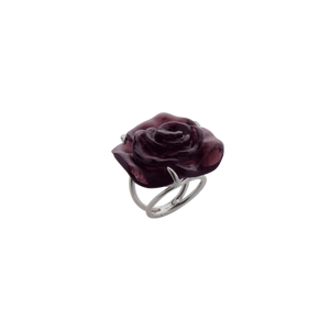 Rose Passion Crystal Ring in Black