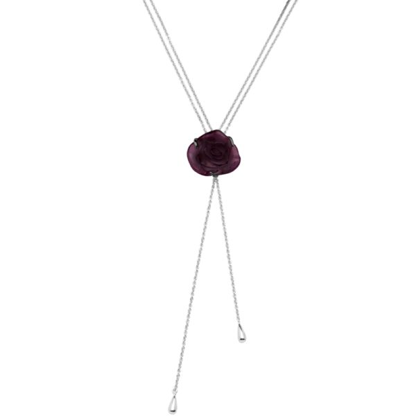 Rose Passion Crystal Sautoir Necklace in Black