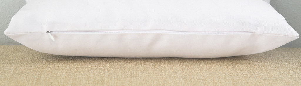 Artisan lumbar pillow zipper detail
