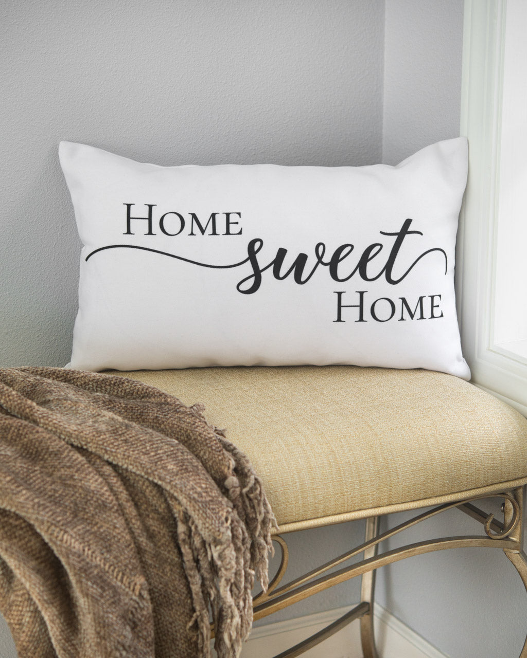 Home sweet home artisan lumbar pillow