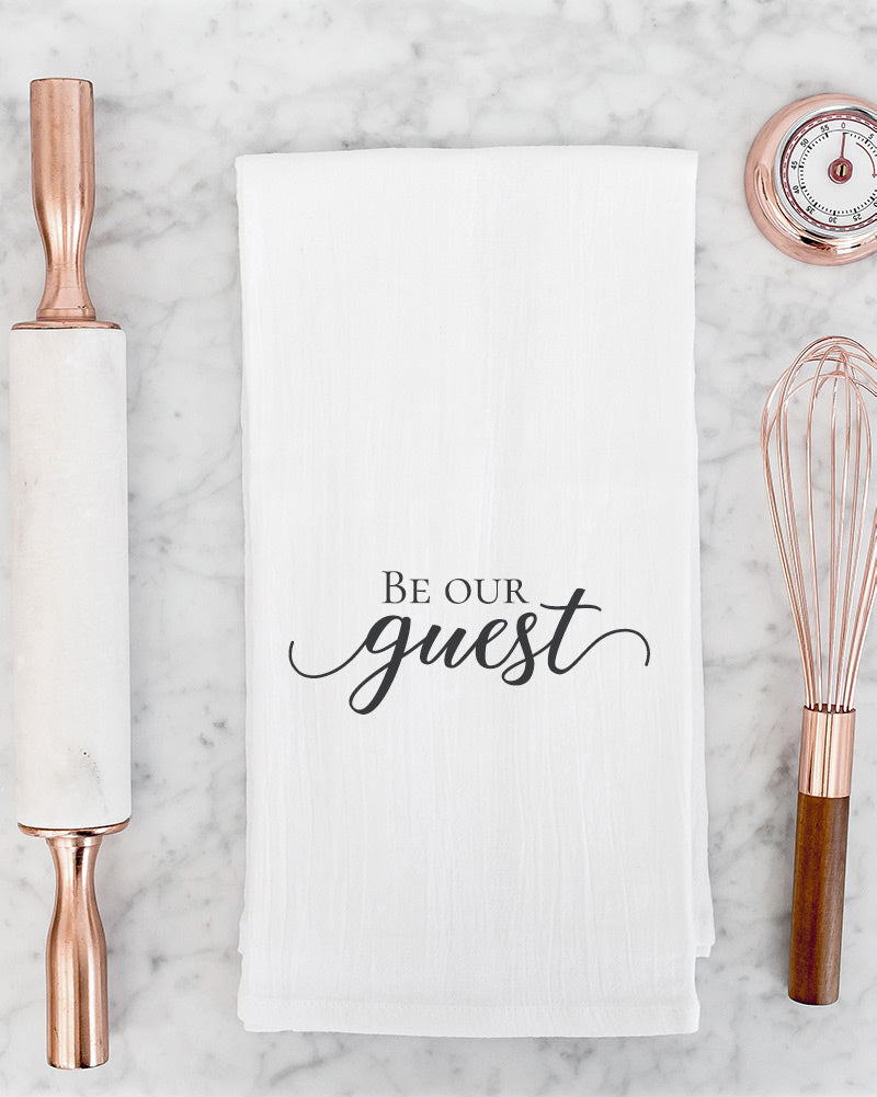 The Be our guest tea towel is a lovely addition to an afternoon tea party with friends, to display when company is over, or as an addition in a guest bathroom.