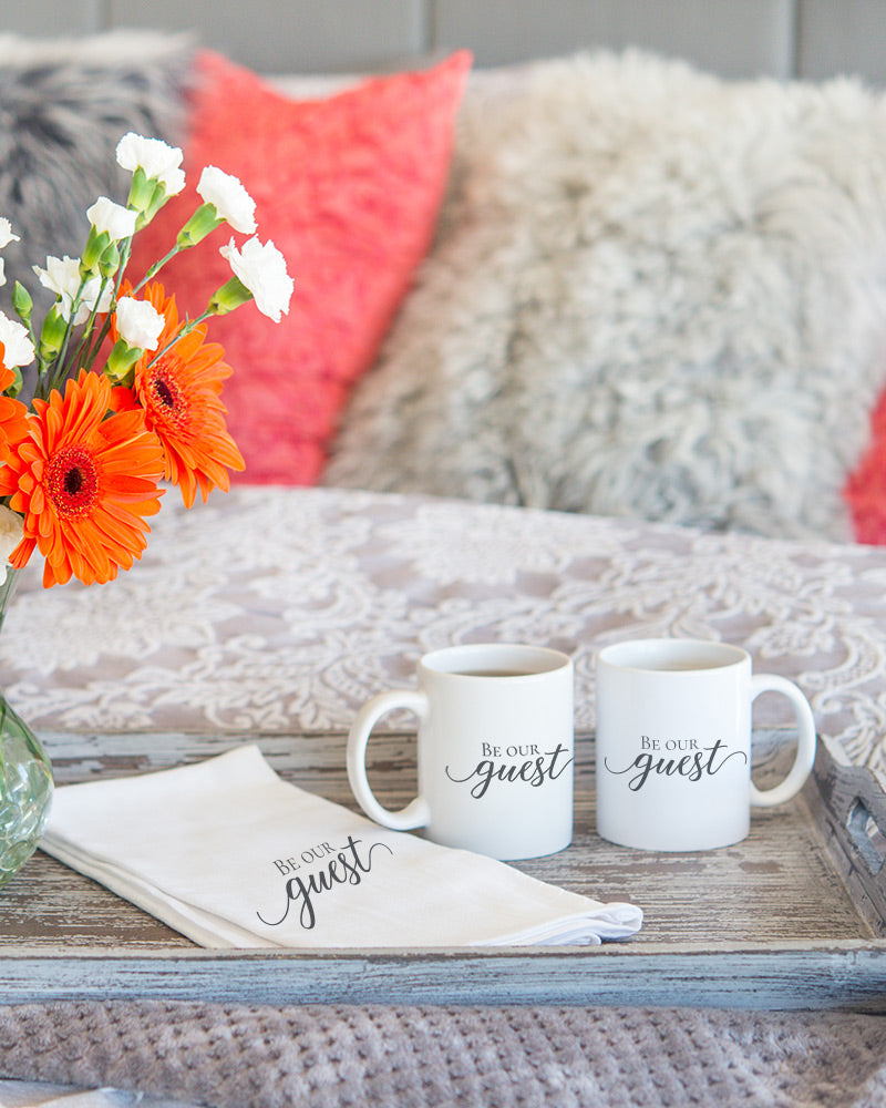 The Be our guest mug is perfect for welcoming company, displaying in guest rooms, or using as a cup in a guest bathroom!