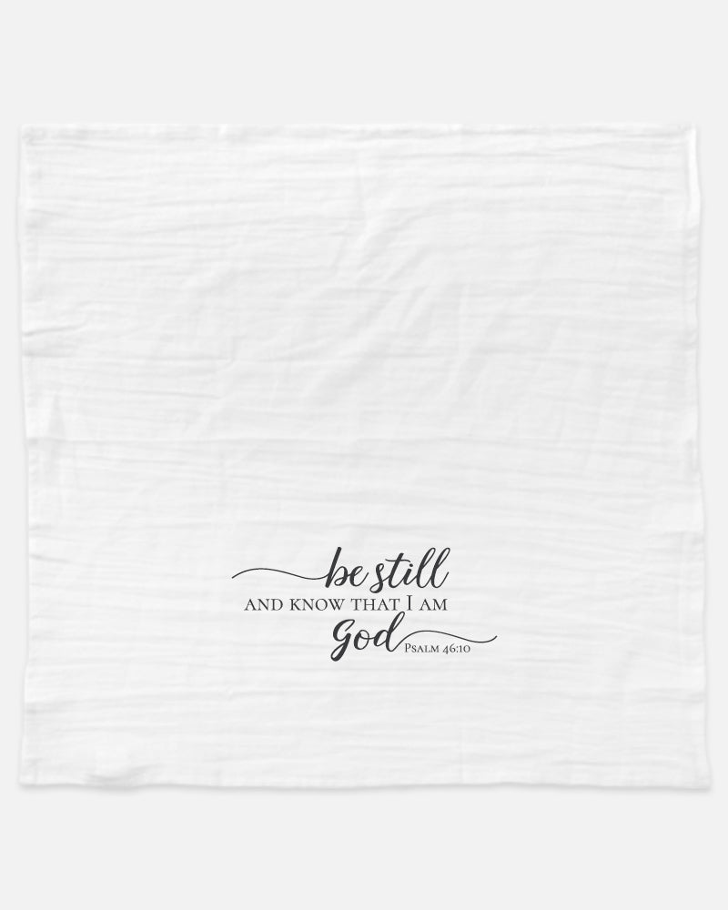 The Be still and know that I am God tea towel is a simple reminder to rest in God. Display it in your kitchen to add a touch of peace, or use it as a reminder to slow down and be still as you tidy the kitchen after a full day.