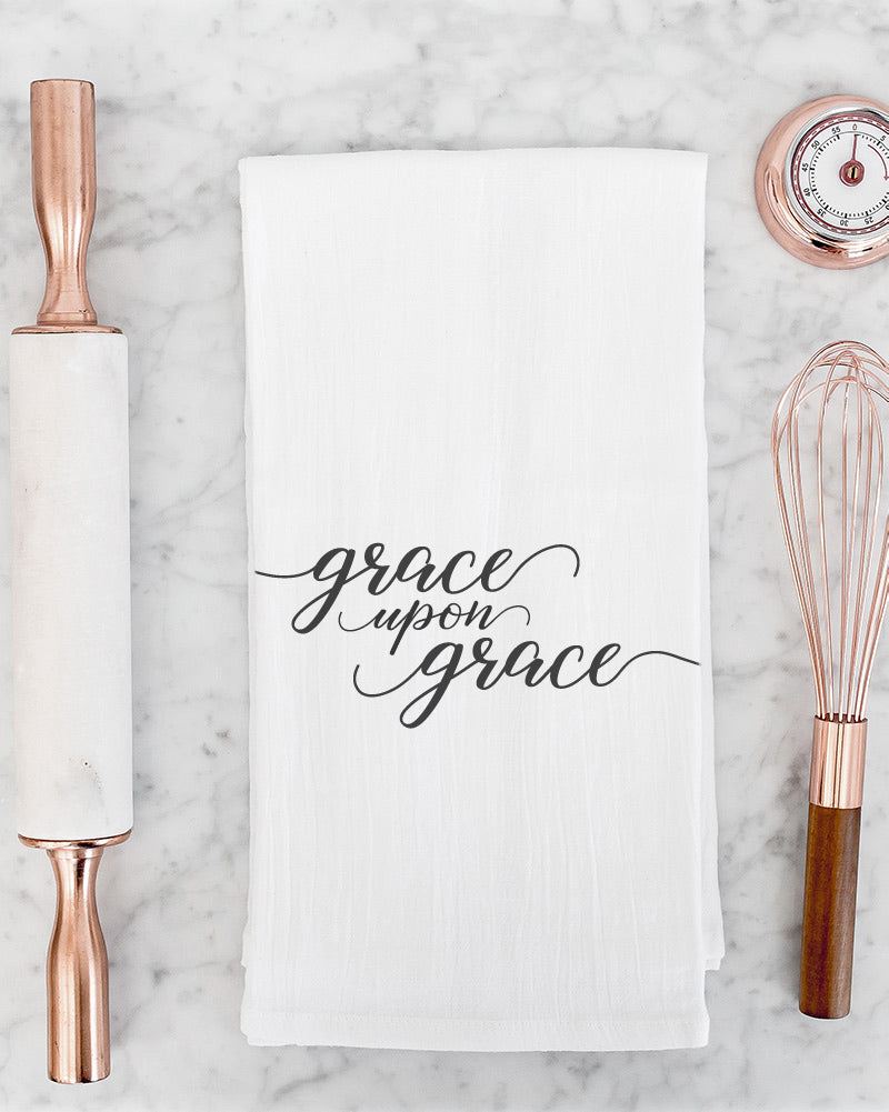 Grace upon grace tea towel. A daily reminder of God's abundant and never-ending grace.
