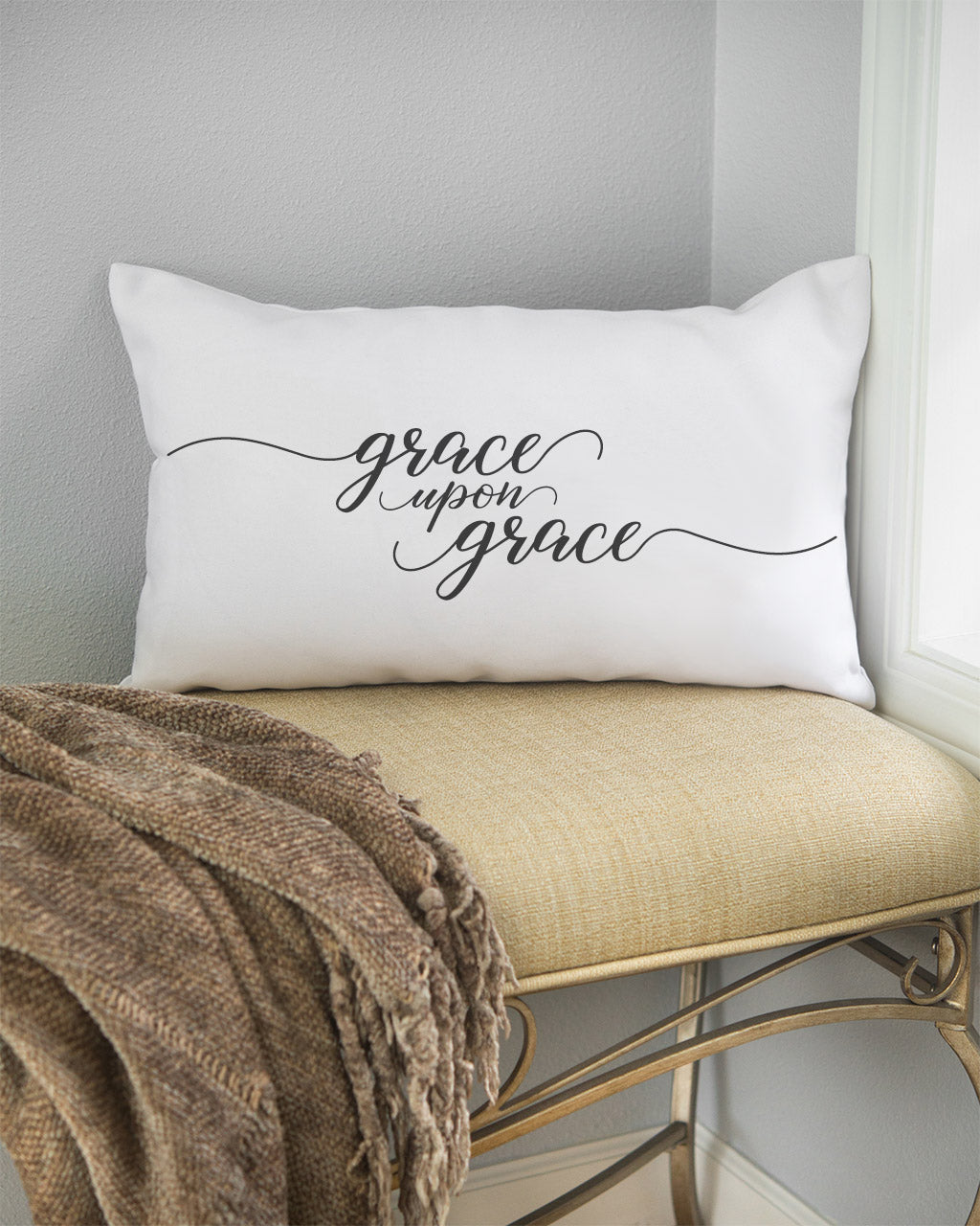 "grace upon grace artisan lumbar pillow. This pretty ""grace upon grace"" pillow is a daily reminder of God's abundant and never-ending grace."