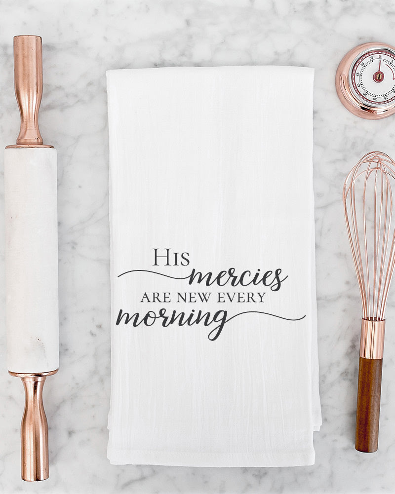 "This lovely ""His mercies are new every morning"" tea towel will remind you that every day is a new and fresh gift from God! Display it in the kitchen to add a spark of inspiration to your morning, or use it alongside your morning coffee or tea to get your day started on the right foot."