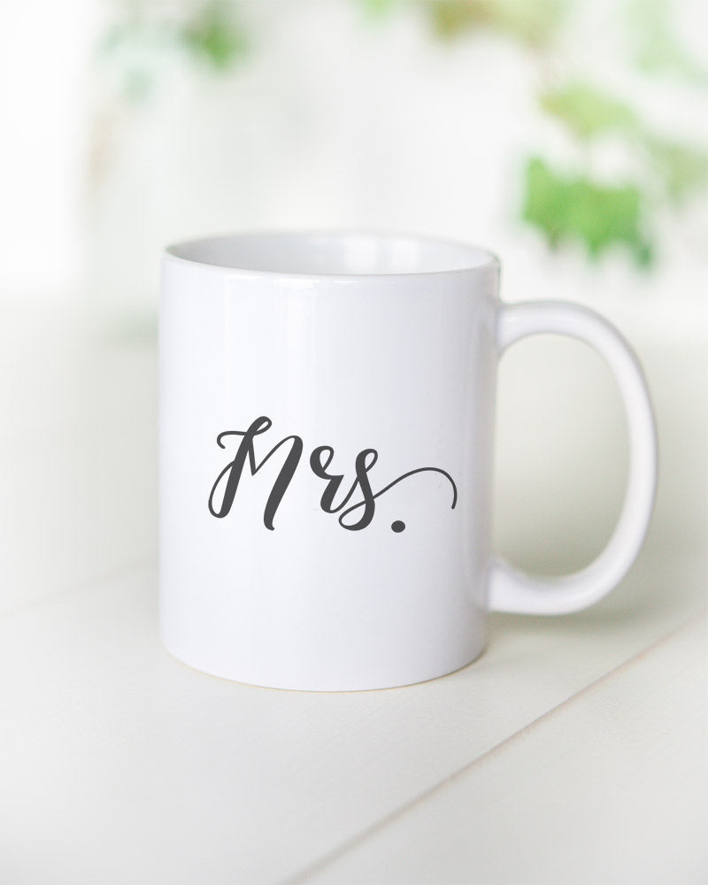"How cute is this ""Mrs."" mug as a gift for the wifey?"