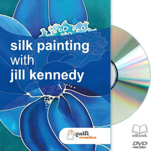 Jill Kennedy, Silk Painting DVD, silk painting workshop, Silk Painting tutorial, DIY Silk Painting, Gutta technique, Silk Dyes and Water on Silk, Salt and Silk Dyes on Silk, Sugar and Silk Dyes on Silk, Batik Wax and Silk Dyes, Silk Batik, Thickener and Dyes on Silk, Discharge and Silk Dyes on Silk, Dilutant and Silk Dyes on Silk, Educational Silk Painting Video