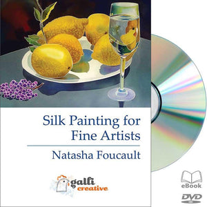 Natasha Foucault, Fine Art Silk Painting, Landscape painting on silk, Seascape painting on silk, Cityscape painting on silk, Still Life painting on silk, hand-painted, DIY Silk Painting, Gutta Resist, Gutta Serti Technique, Silk Dyes, DVD, Educational Video, Silk painting tutorials