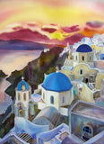 Natasha Foucault book, Silk Diary Book, Silk Painting book, Artist Journey, Santorini Sunset - Greece
