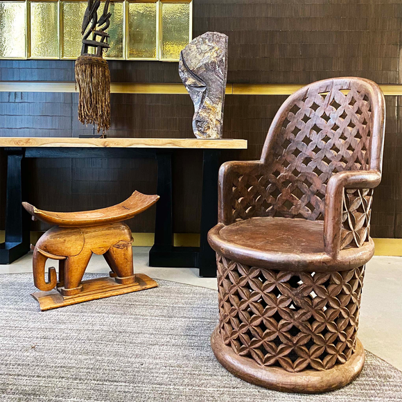 Ashanti Elephant Stool and Cameroon Chair