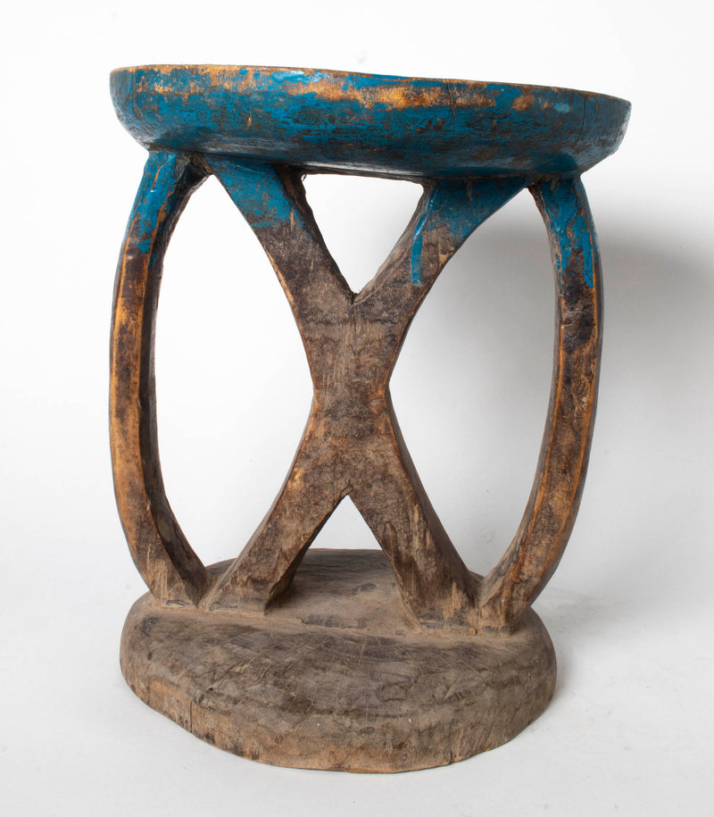 Tonka stool with X pattern and blue detail