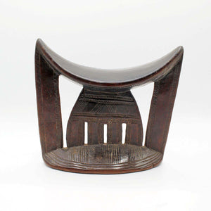 ornate headrest from Ethiopia with high patina