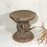 Round carved stool hand made in Africa
