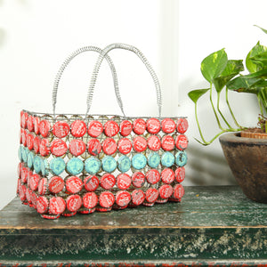 Recycled bottle cap basket