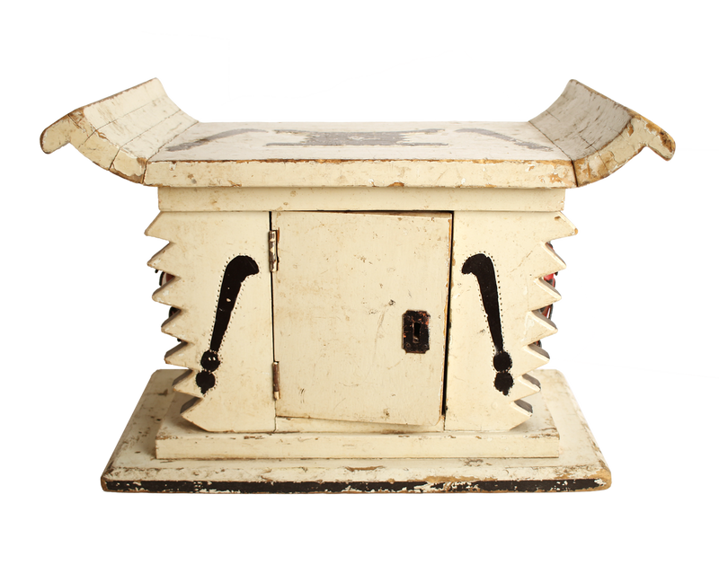 White painted Ashanti Stool