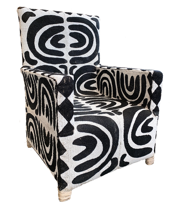 black and white beaded chair