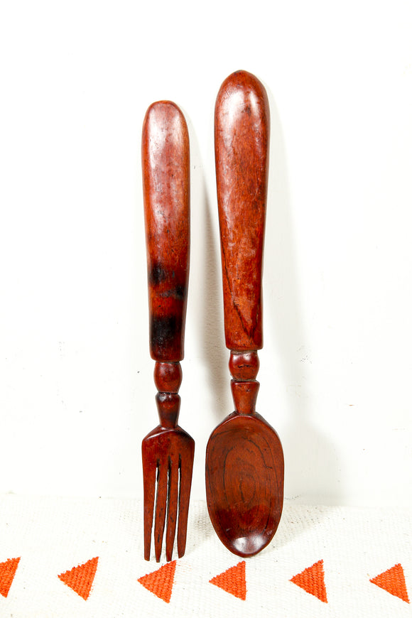 Wooden salad spoon and fork