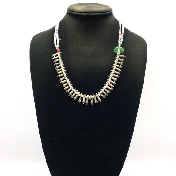 Antique silver necklace with beads