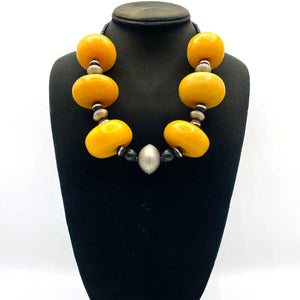 Copal Amber necklace with silver beads