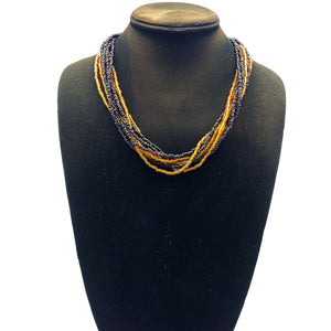 black and gold hand beaded necklace from Africa