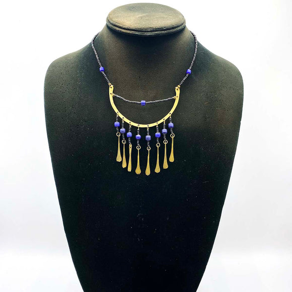 beaded necklace with metal details. African