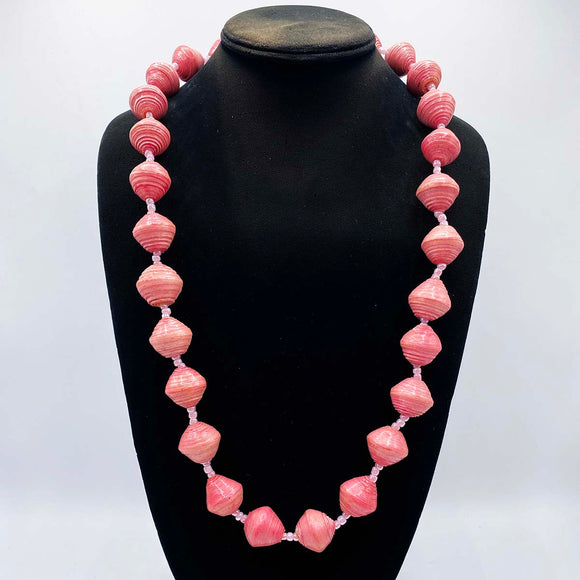 Pink paper beads from Uganda