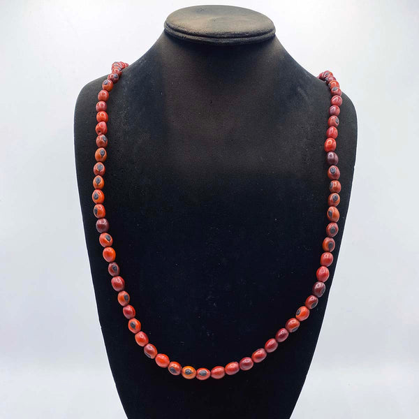 red lucky bean bead necklace