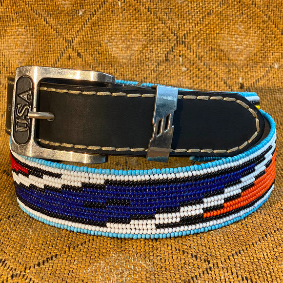 Beaded Belt with USA buckle