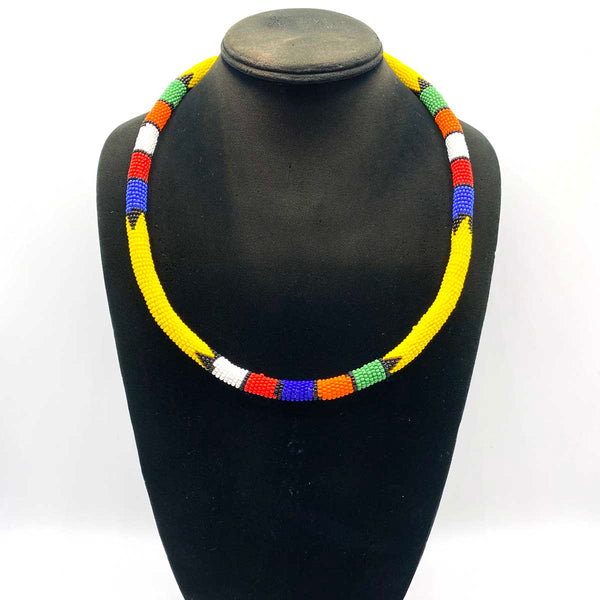 multi colored beaded necklace worn by Zulu women in South Africa