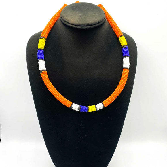 beaded necklace. Also worn as a Zulu crown on the head.