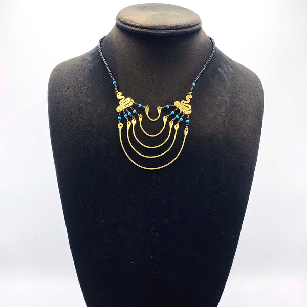 handmade small metal and bead necklace from Africa