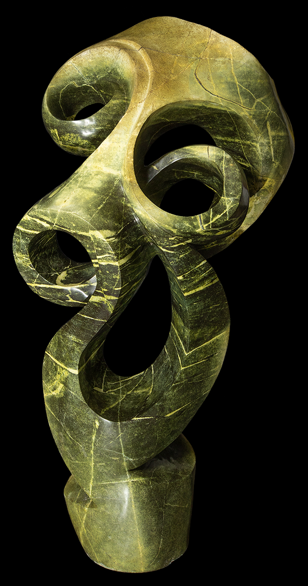 Green Leopard Stone Carved Sculpture