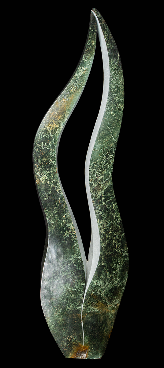 Flame sculpture in green stone
