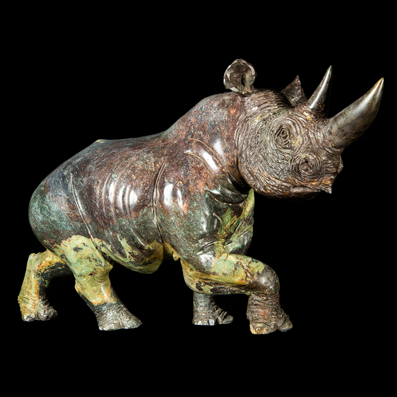 purple and green realistic rhinoceros