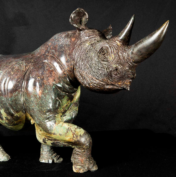 hand carved life like rhino in stone