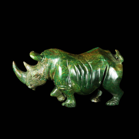 Carved Verdite realistic rhino sculpture from Zimbabwe