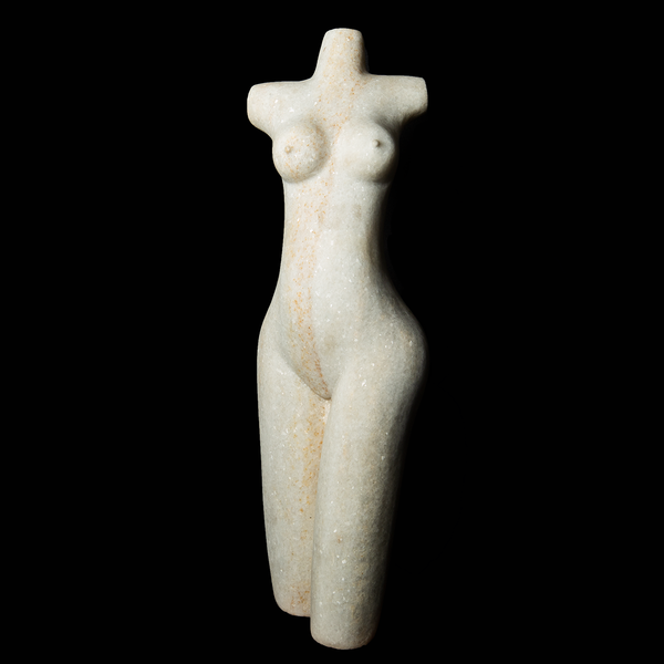 White quartz stone female figure sculpture