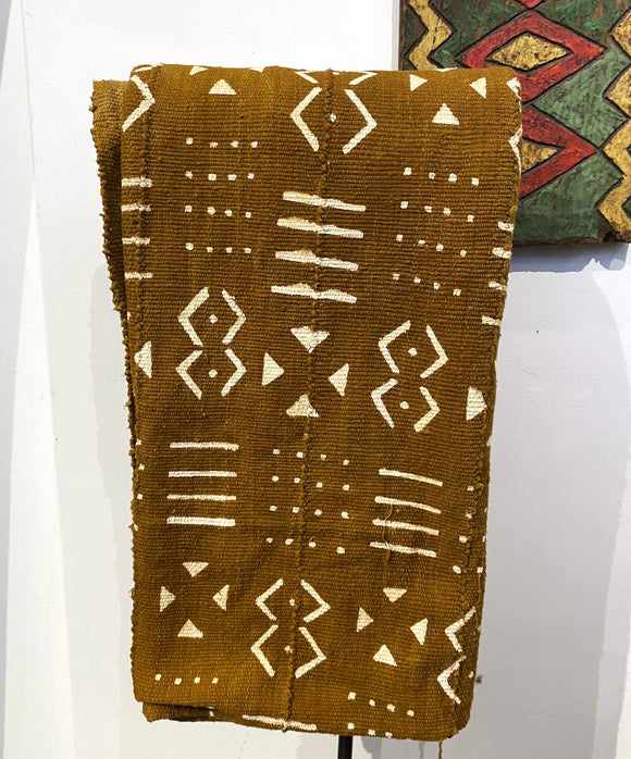 Brown and white African fabric