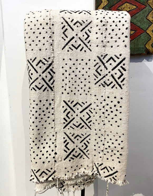 White and black geometric African fabric
