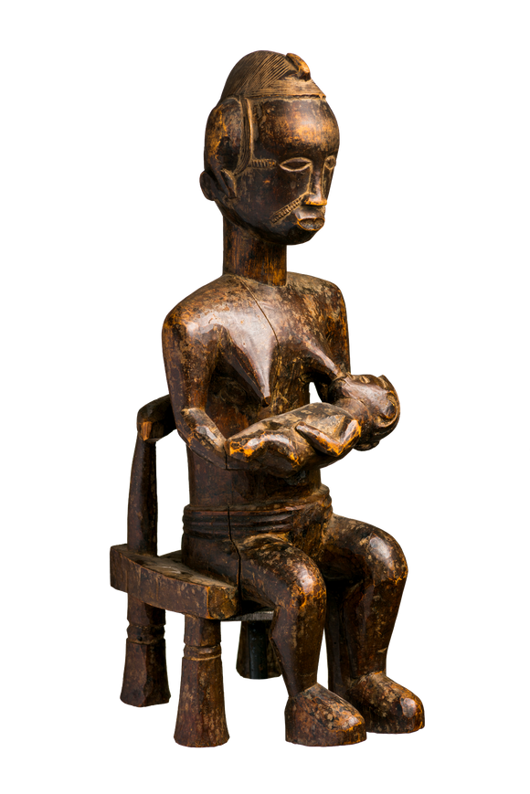 Baule mother with child seated figure
