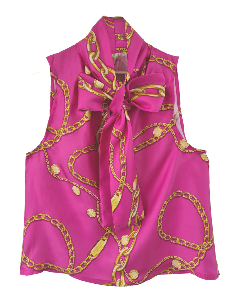 Change Maker Sleeveless Tie-Neck Top (Fuchsia)