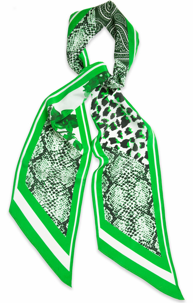Silk Patch Scarf (Green)