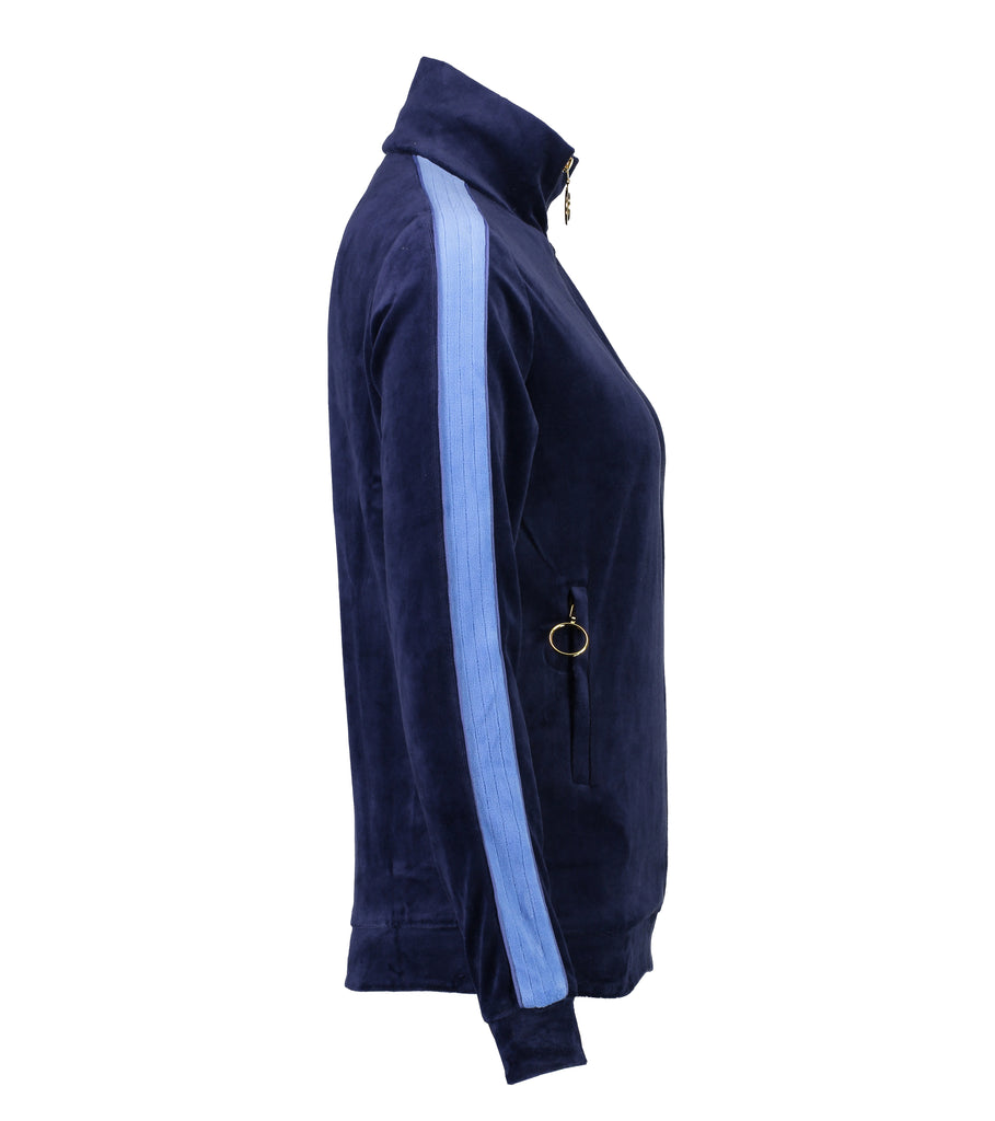 Velour Jogging Jacket (Ink/Cornflower Blue)