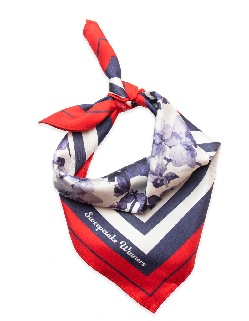 Orchids Bandana (Navy/Red)