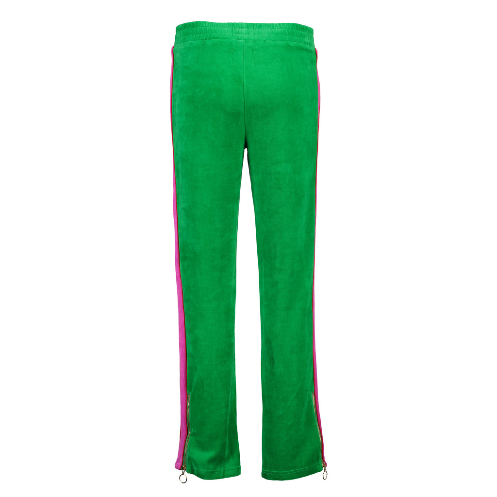 Velour Jogging Pants (Jungle Green/Hot Pink)
